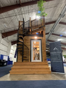 Tiny home spiral staircase